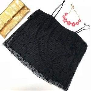 NWT J. Crew Black Fluttery Lace Cami in Large